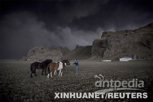 """"""" 4月17日,在冰岛一处农场,农夫索拉林·奥拉夫松试图安抚他的马匹免"""