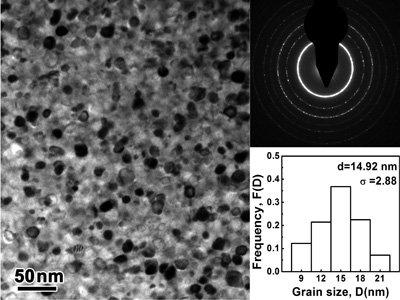 图1.fesibpcu纳米合金微观组织结构的透射电镜图像
