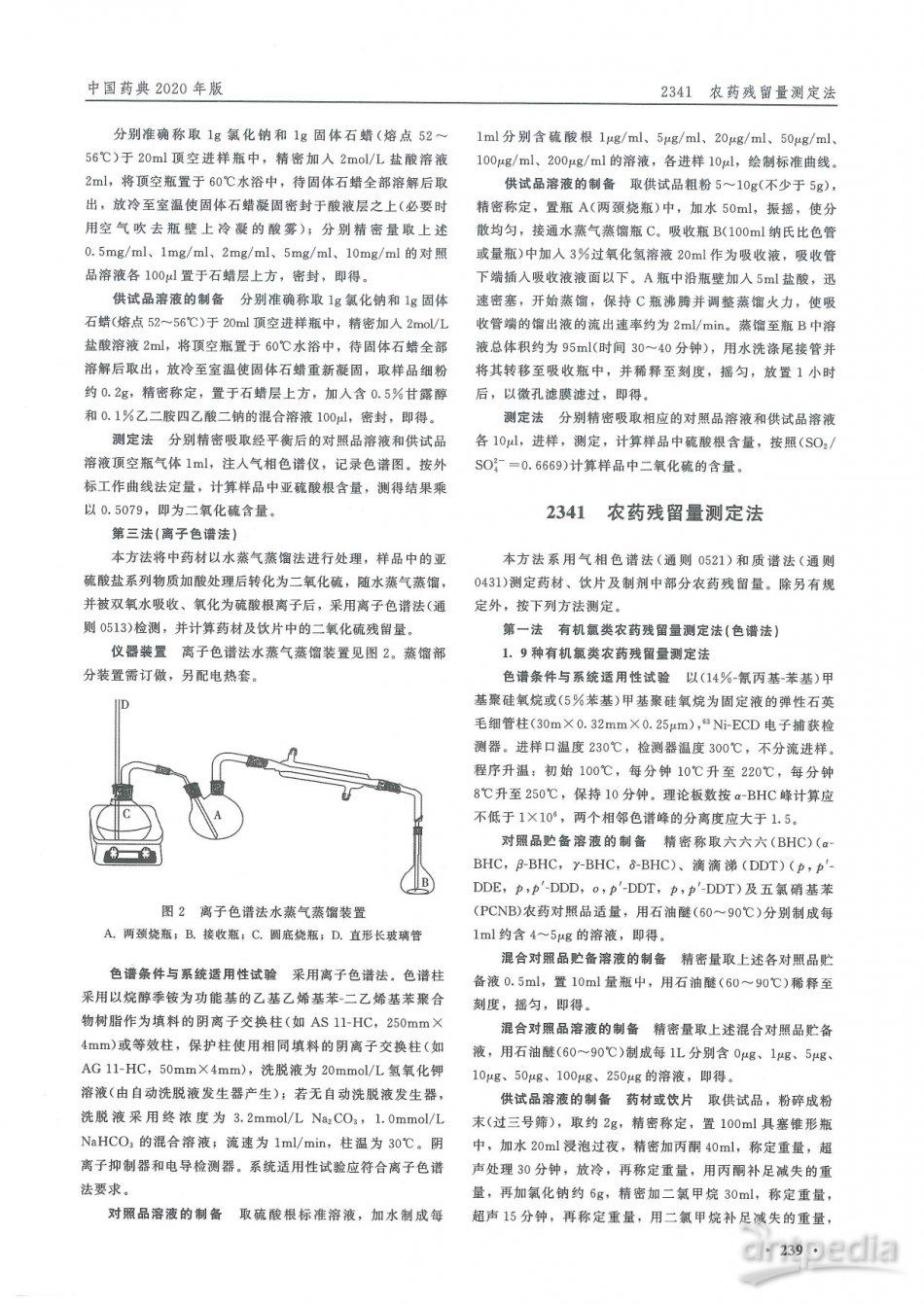 农药残留量测定法